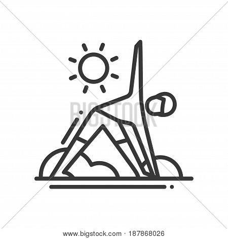Yoga - modern vector single line icon. An image of a person doing a triangle asana in the street. Represents health, strength, youth, flexibility and power,
