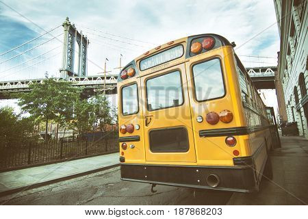 Back view of an american yellow school bus