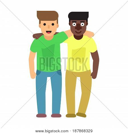Two best friends. Friendship flat vector concept illustration