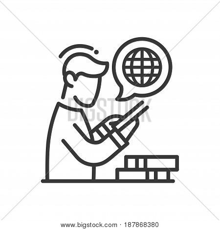 Online education - modern vector single line icon. An image of a man using internet on a device, globe, books. Representation of knowledge, technology, understanding, reading, learning