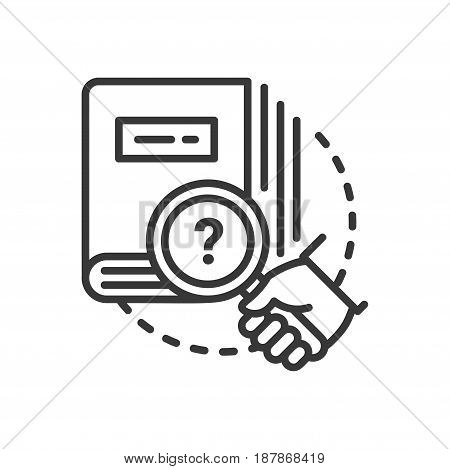 Education - modern vector single line icon. An image of a thick book with a hand holding a magnifying glass, question mark. Representation of knowledge, learning, understanding.
