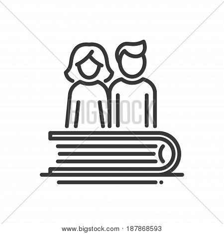 Education - modern vector single line icon. An image of a thick book with a couple of people, a man and a woman. Representation of knowledge, learning, understanding