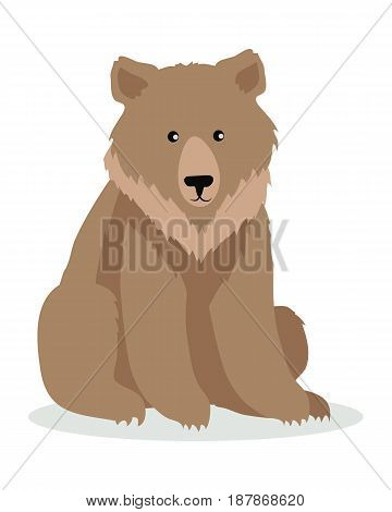 Brown bear cartoon character. Cute bear flat vector isolated on white. North America and Eurasia fauna. Grizzly icon. Animal illustration for zoo ad, nature concept, children book illustrating