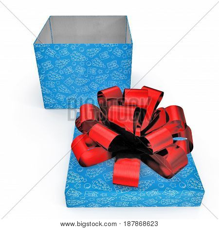 Blue gift-box with red ribbon bow on white background. 3D illustration