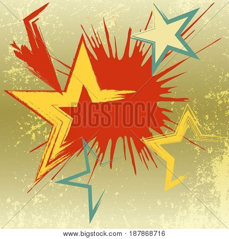 Grunge background of explosion star. Vector illustration.