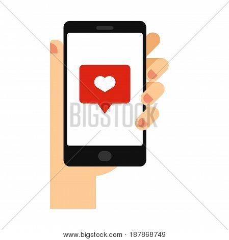 Hand with phone vector illustration in flat style. Hand holding a phone. Smartphone in hand isolated on background.