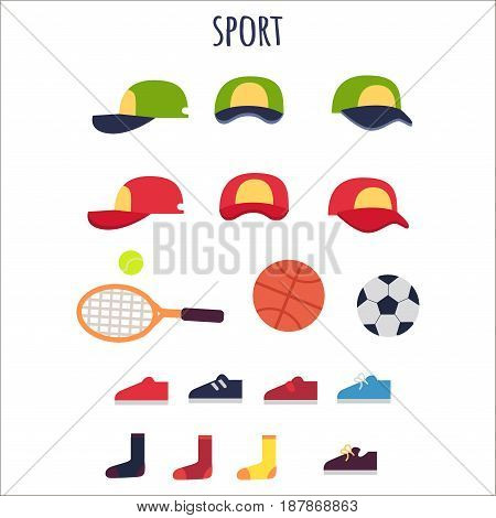 Sport clothes and equipments vector collection. Poster of green and red caps with yellow sport in poses, tennis rocket and ball, basketball and football round elements, colorful shoes and socks