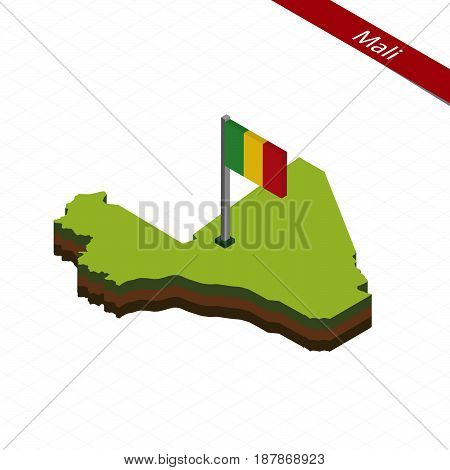 Mali Isometric Map And Flag. Vector Illustration.