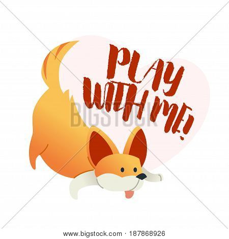 Dog - modern vector phrase flat illustration. Cartoon animal character. Gift image of dog sitting with words play with me .