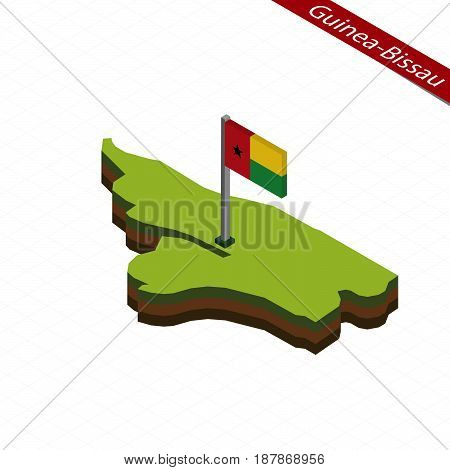 Guinea-bissau Isometric Map And Flag. Vector Illustration.