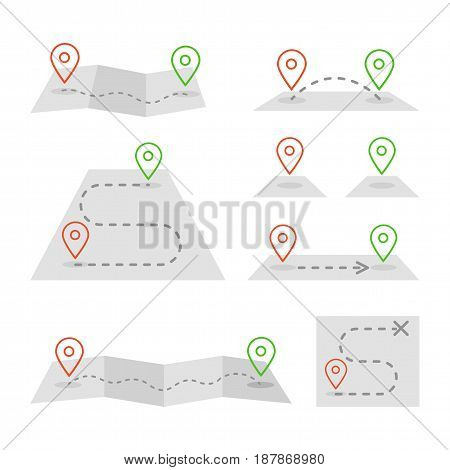 Set of markers and maps illustration set in flat design style.