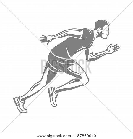 Silhouette of isolated running man on white background. Male person in sportswear and running shoes. Sport lifestyle colourless vector illustration. Motion movement in cartoon style flat design