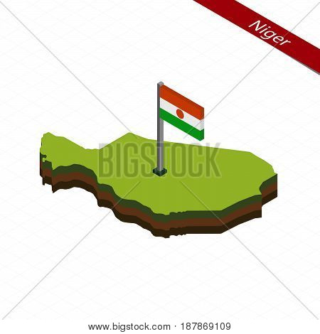 Niger Isometric Map And Flag. Vector Illustration.
