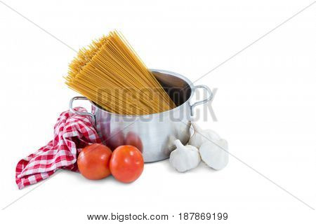 Food and bowl with napkin against white background