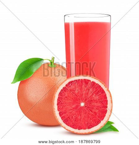 Isolated drink. Glass of juice and cut pink grapefruit isolated on white background.
