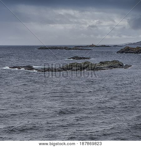 Classical Norwegian Seascape During Early Spring Time.Square Image Composition