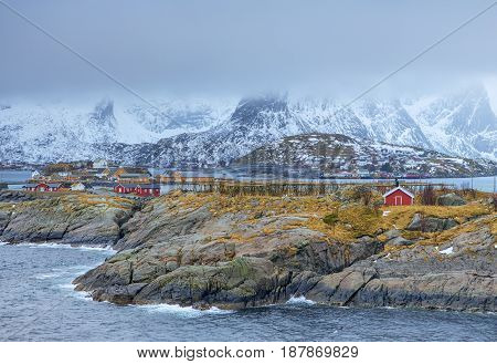 Travel Concepts and Ideas. Traditional Norwegian Fishing Hut Called Hamnoy in Norway.Horizontal Image