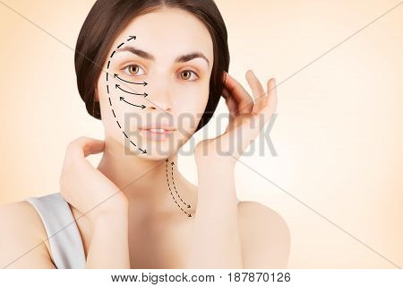 plastic operation concept - brunette woman with vector marks on face