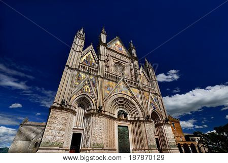 Beautiful gothic Orvieto Cathedral in Umbria Italy