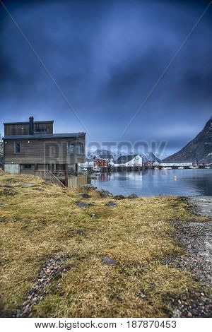 Picture of Traditional Norwegian Fishing Village at Lofoten Islands, Norway.