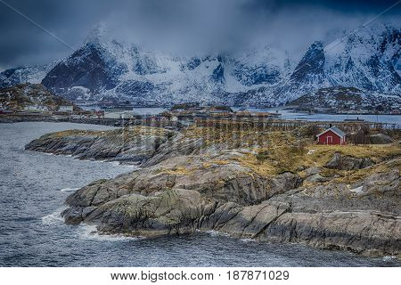 Travel concepts and Ideas. Picturesque Breathtaking View of Reine Village at Lofoten Islands Shot from Upper Point. Horizontal Image