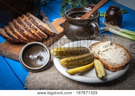 Slice Of Country Bread With Homemade Lard.