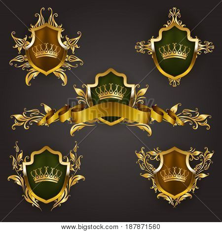 Set of golden royal shields with floral elements, ribbons, laurel wreaths for page, web design. Old frame, border, crown, divider in vintage style for label, emblem, badge, logo. Illustration EPS10