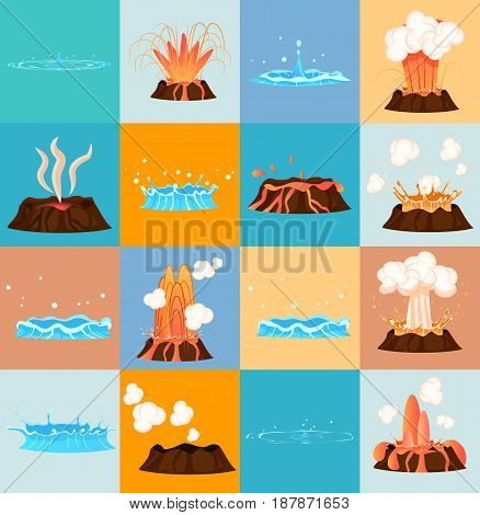 Set of stages of volcano eruption and water discharge by blue geyser. Splash of hot lava, flowing magma, discarded steam under pressure. Powerful aqua fountain from hot spring, vector illustration
