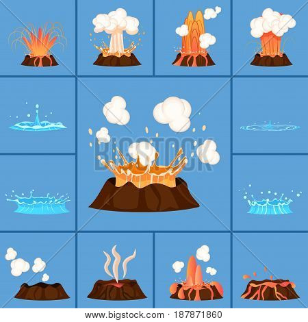 Natural phenomenas active volcano and blue geyser in action. Splash of hot lava, flowing magma, discarded steam under pressure. Powerful aqua fountain hot spring vector illustration in flat design