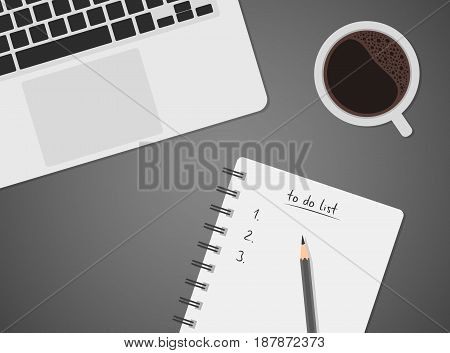 Worktable top view with laptop coffee and to do list notebook with pencil black coffee keyboard vector illustration of office desk business concept