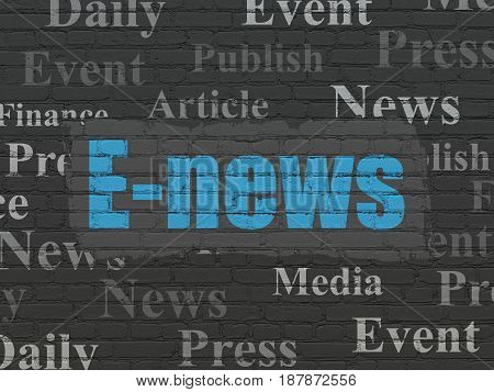 News concept: Painted blue text E-news on Black Brick wall background with  Tag Cloud