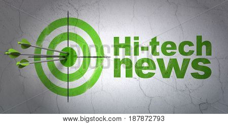 Success news concept: arrows hitting the center of target, Green Hi-tech News on wall background, 3D rendering