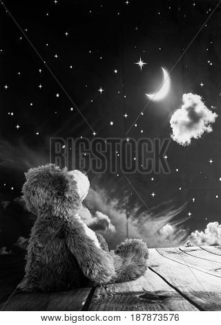 A teddy bear sitting gazing at the moon in a thoughtful manner.
