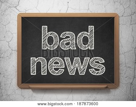 News concept: text Bad News on Black chalkboard on grunge wall background, 3D rendering