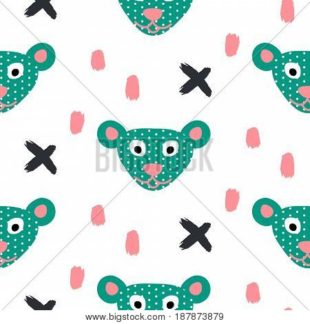 Cuet bear stylized green fun seamless pattern for kids and babies. Toy plush animal fabric design for textile and apparel in cartoon style.
