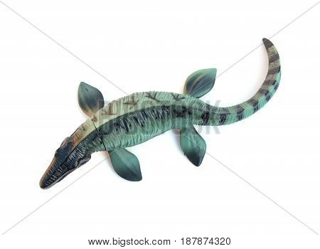 top view Mosasaurus toy on white background