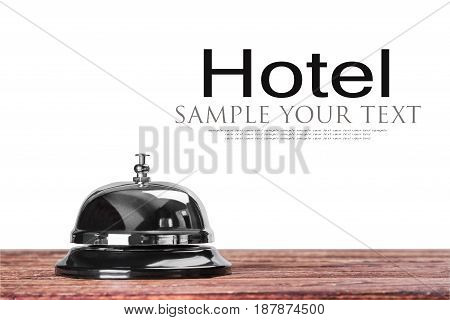 Bell at the reception in the hotel or medical hospital on a white background. Text delete