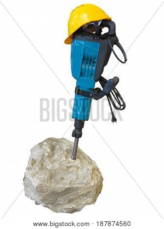 construction concept - jackhammer in concrete and yellow helmet isolated over white background
