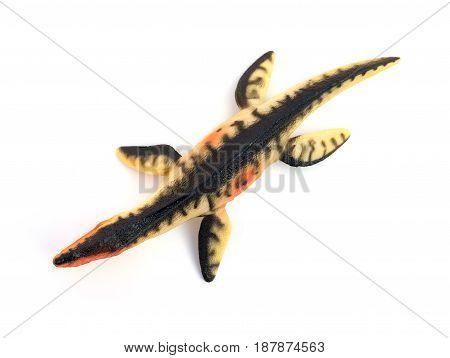 top view Liopleurodon toy on a white background