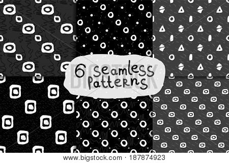 Abstract hand drawn monochrome seamless pattern set. Six Black and white grunge backgrounds with simple geometric shapes.