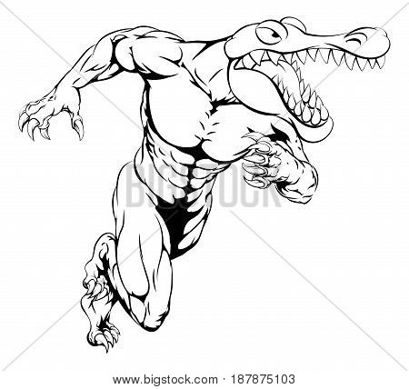 A cartoon scary alligator or crocodile mascot sprinting or charging