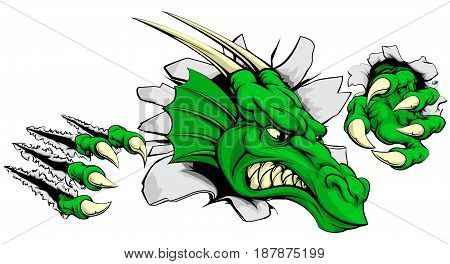 A tough dragon animal sports mascot breaking through a wall