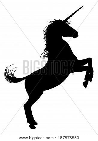 Unicorn mythical horse in silhouette rearing standing on hind legs
