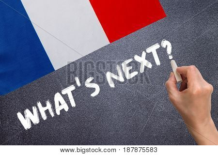 What's next on the chalk board and the flag of France. Election concept