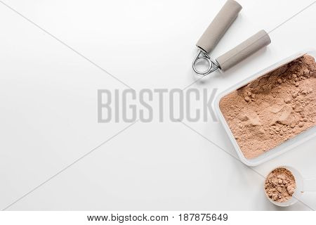 Fitness nutrition with bars on white table background top view mock-up