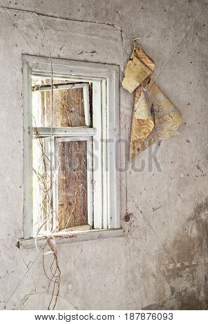 Interior of abandoned old house, wallpaper on the wall