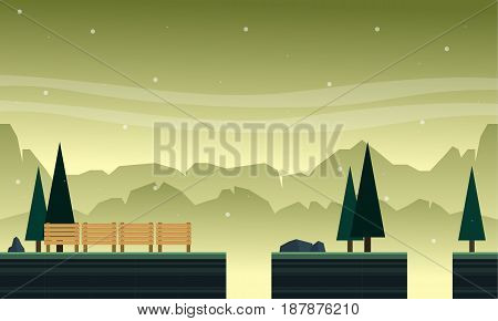 Collection hill with tree scenery bakground game vector art