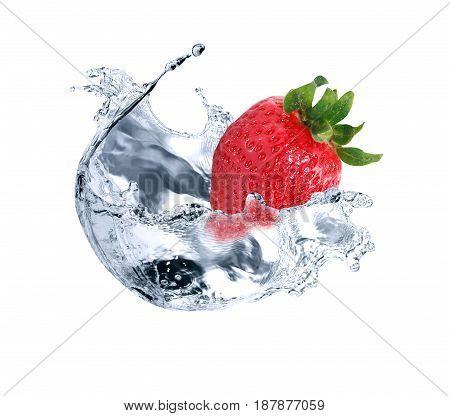 Freshness red strawberry fruit in water splash against white background