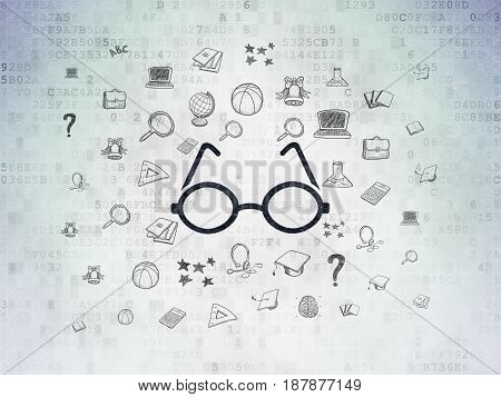 Learning concept: Painted black Glasses icon on Digital Data Paper background with  Hand Drawn Education Icons