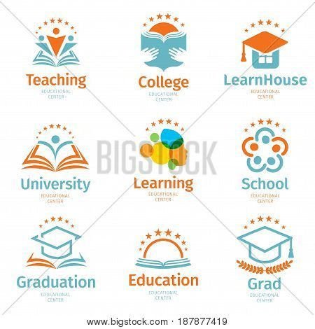 Isolated abstract colorful education and learn logo set, university and school books, graduate hats and human silhouettes logotypes collection on white background vector illustration.